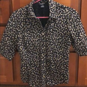 Flowered Button Up Short Sleeved Blouse